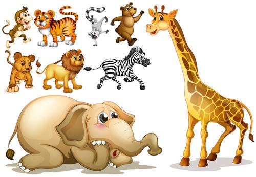 Various wild animals cartoon vector