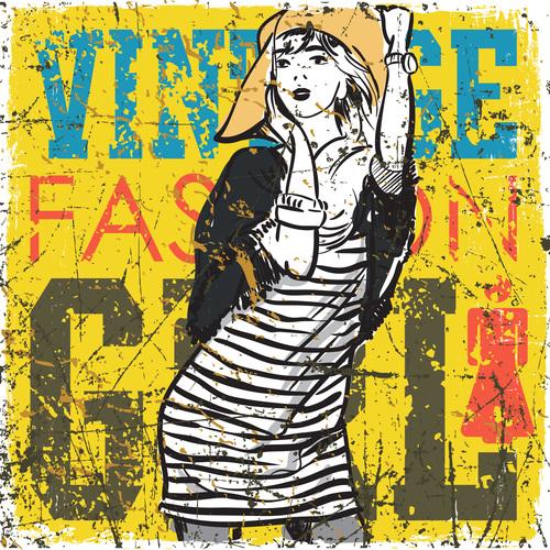 Vintage fashion women vector