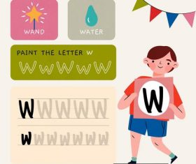 W letter word meaning and spelling vector