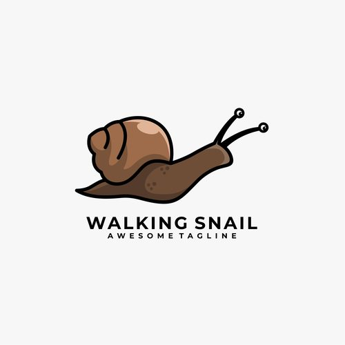 Walking snail logos vector