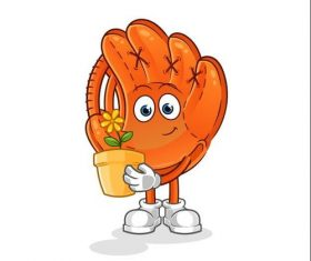 Watching flowers baseball glove cartoon icon vector