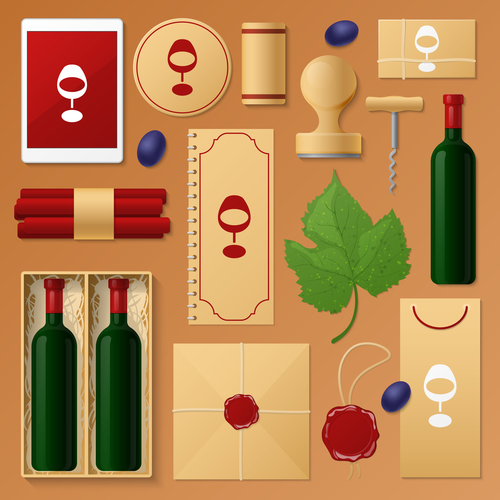 Wine business template with logo design vector