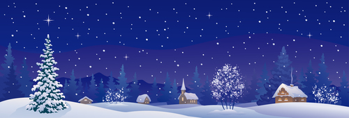 Winter night illustration vector