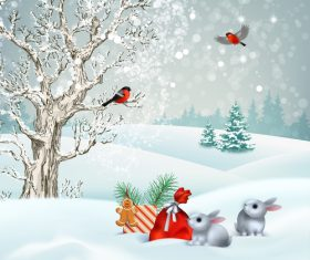 Winter snow scene illustration vector