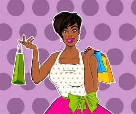 Woman Vector Holding Shopping Bags