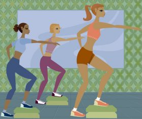 Women doing aerobics pedal exercise vector