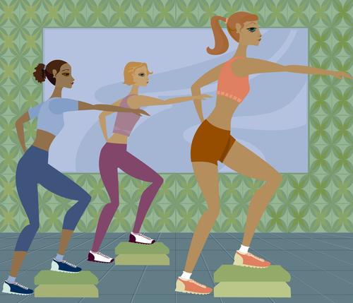 Women doing aerobics pedal exercise vector