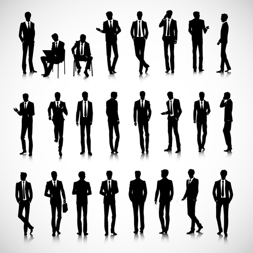 Workplace people silhouette vector
