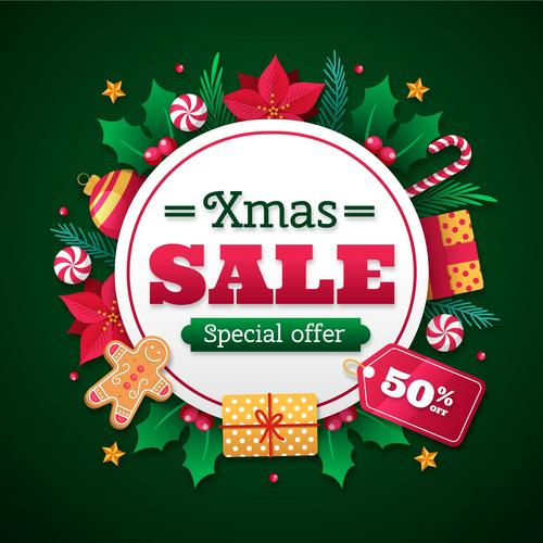Xmas sale card design vector