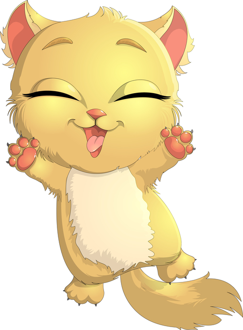 Yellow fur cute kitten cartoon vector