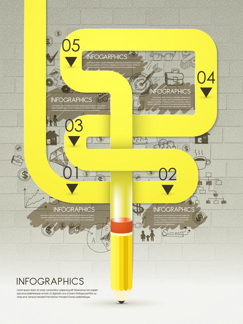 Yellow line infographic vector