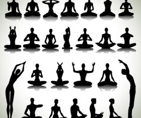 Yoga exercise silhouette vector