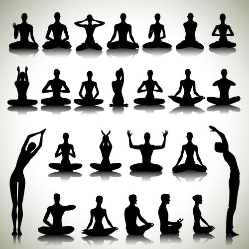 Yoga exercise silhouette vector