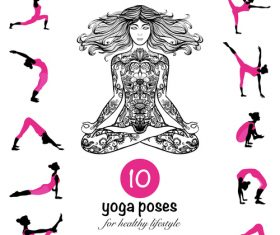 10 yoga poses for healthy vector