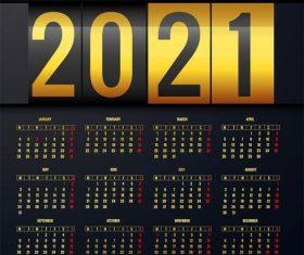 2021 calendar layout template background vector