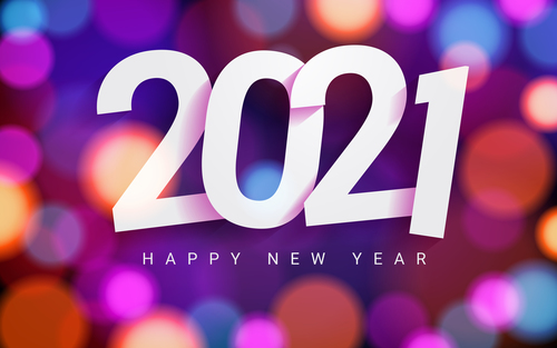 2021 happy new year background with bokeh lights vector