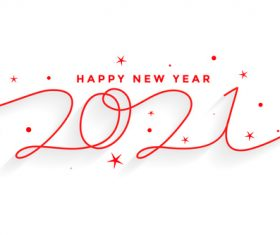 2021 happy new year line style lettering background vector