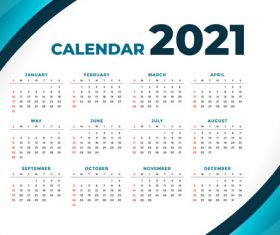 2021 modern calendar with curve shape vector