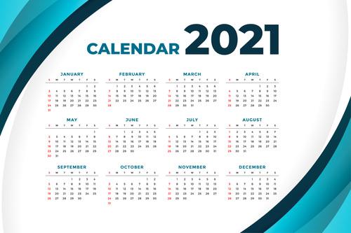 2021 modern calendar with curve shape vector
