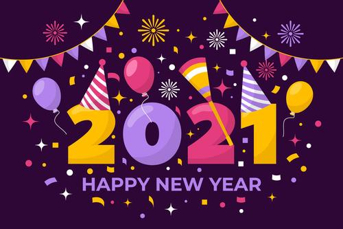 2021 new year background flat design vector
