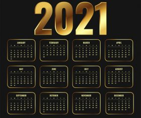 2021 new year calendar in golden shiny style design vector