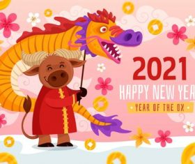 2021 new year cartoon background vector