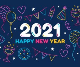 2021 new year hand drawn greeting card vector