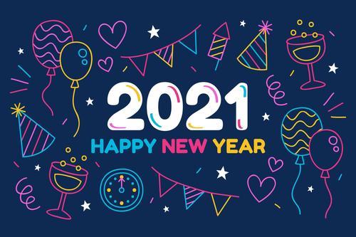 2021 new year hand drawn greeting card vector
