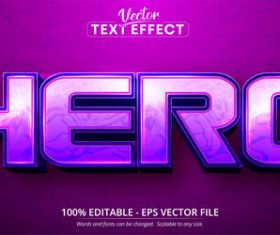 3d purple gradient editable text style effect vector