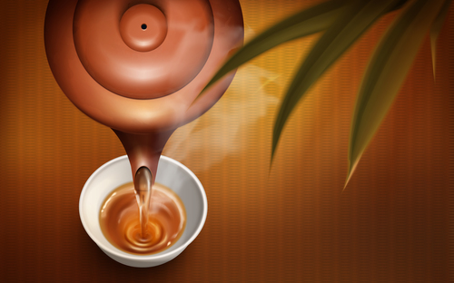 A cup of fragrant black tea advertising vector