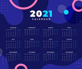 Abstract 2021 calendar template with photo vector