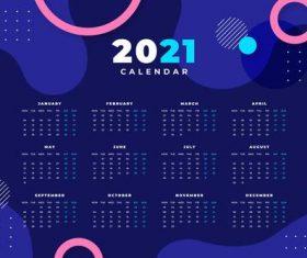 Abstract 2021 calendar template with photo vector