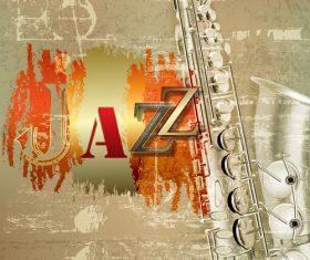 Abstract background with saxophone and word Jazz vector
