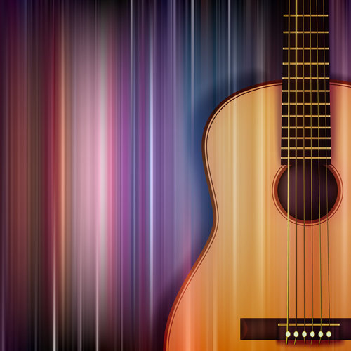 Abstract blue music background with acoustic guitar vector