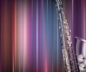 Abstract blue music background with saxophone vector