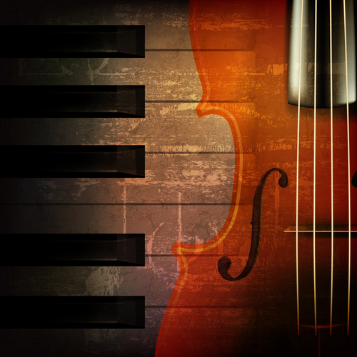 Abstract brown grunge music background with violin vector