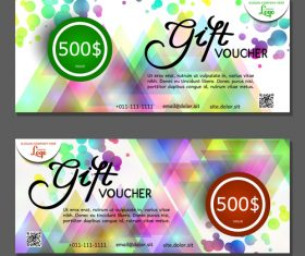 Abstract colorful geometric background gift card voucher vector