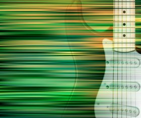 Abstract green blur background with electric guitar vector