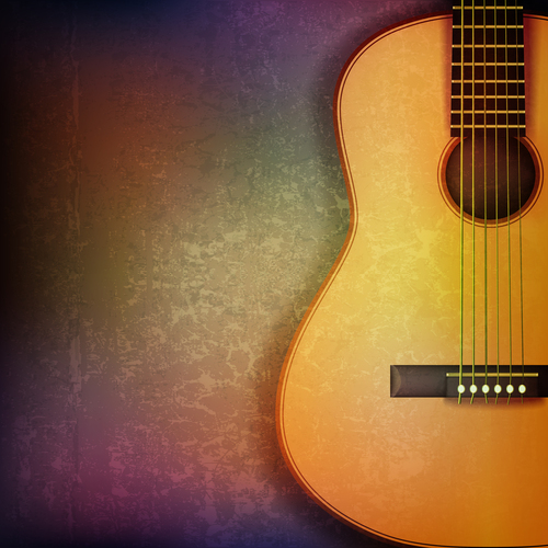 Abstract grunge music background with acoustic guitar vector illustration