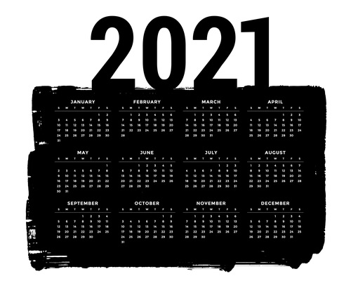 Abstract grunge style black 2021 calendar design template vector