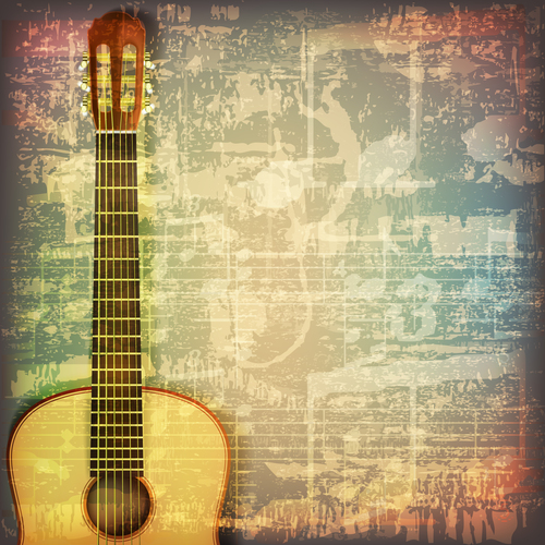 Abstract grunge vintage background with guitar vector