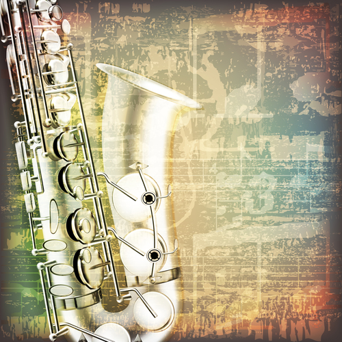 Abstract grunge vintage background with saxophone vector