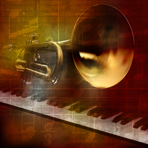 Abstract grunge vintage sound background with trumpet and piano vector