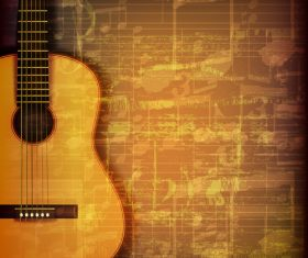 Abstract music symbols vintage background with acoustic guitar vector