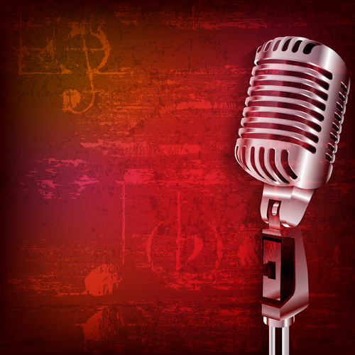 Abstract red grunge sound background with retro microphone vector