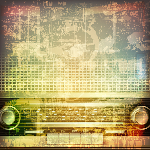 Abstract vintage background with retro radio vector