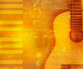 Abstract yellow grunge piano background with acoustic guitar vector