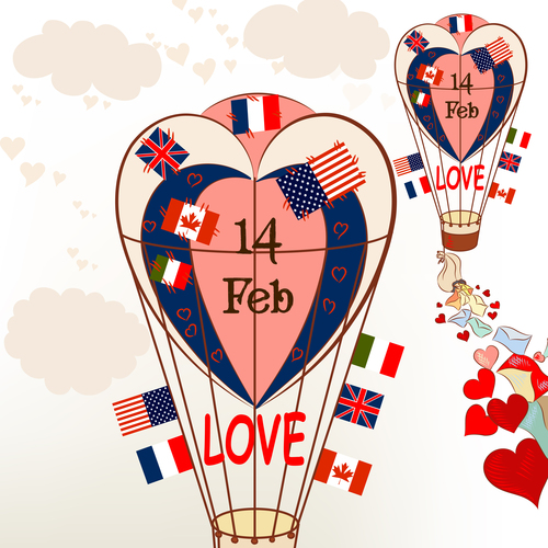 Air balloons with international flags and hearts Valentines greetings vector