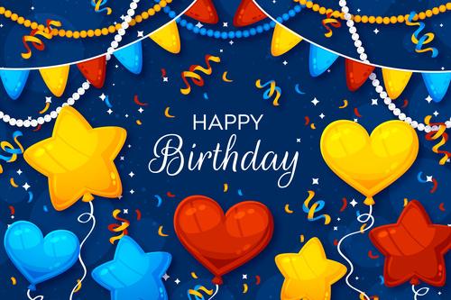 All kinds of balloon decoration birthday invitation card vector