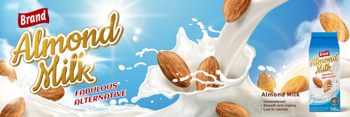 Almond milk advertising vector